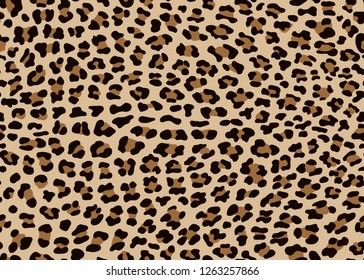 Seamless Faux Leopard Skin Pattern with black and brown spots on brown background. Vector illustration animal repeat surface pattern.