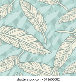 Seamless feathers pattern. Hand drawn background. Eps-8