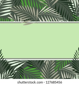 Seamless fern leaf background with custom text space. Vector illustration