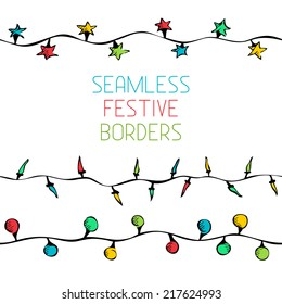 Seamless festive borders. Hand drawn lights isolated on white background.