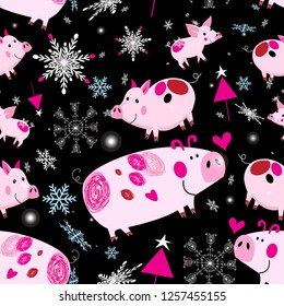 Seamless festive Christmas pattern with pink piglets on a dark background with snowballs and Christmas trees