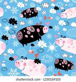 Seamless festive New Year's pattern with pigs on a blue background with snow and clouds. Template for design wallpaper, business cards and a poster.