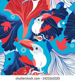 Seamless festive pattern of birds in love and hearts on an abstract background