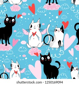 Seamless festive pattern with cats in love on blue background with hearts