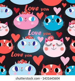 Seamless festive pattern of cats in love with hearts on a dark background
