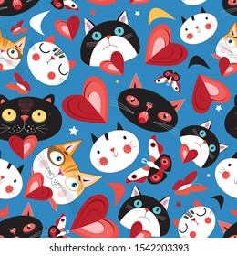 Seamless festive pattern with cheerful loving cats and hearts