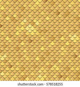 Seamless fish scales background. Vector texture pattern in golden colors.