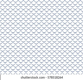 Seamless fish scales background. Vector textured white and blue pattern.