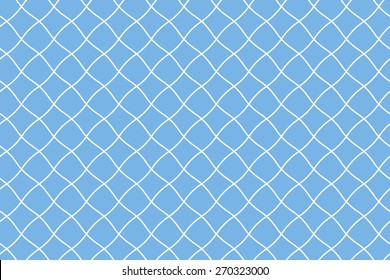 Seamless Fishing Net Pattern of Pseudo Irregular Mesh Cells of White Color on Blue Background.
