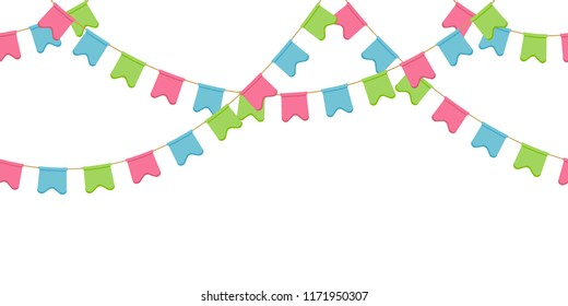 Seamless flag garland, decoration chain, pink, blue, green rounded pennons without background