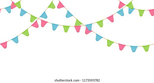 Seamless flag garland, decoration chain, pink, blue, green rounded pennons without background, footer and banner for decoration