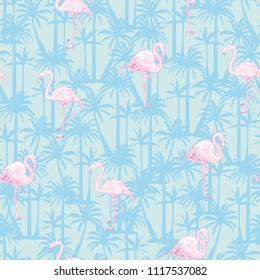 seamless flamingo pattern vector, illustration, bird, design, summer pink print textile tropical