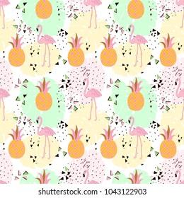 Seamless flamingo tropic pattern vector illustration. Hand draw.