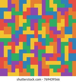 Seamless flat UI colors tetris pattern without lines vector illustration