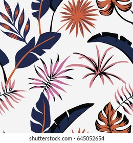 Seamless flat vector composition of tropical leaves abstract color beach wallpaper white background