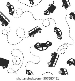 Seamless flat vector pattern - cars. Black on white