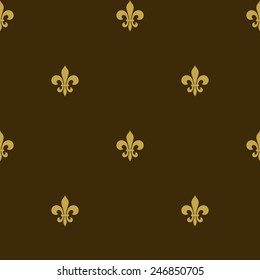 seamless fleur de lis background, heraldic symbol, flowers decorative backdrop design - vector illustration, you can change the shape and color as you wish