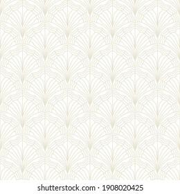 Seamless floral art deco pattern. Vintage geometric minimalistic background. Abstract luxury fan illustration