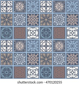 Seamless floral azulejo style pattern. Inspired by old moroccan, arabian and turkish ornaments