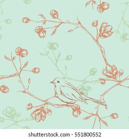 Seamless floral background with birds on branches. Vintage seamless pattern with flowers and birds on branches
