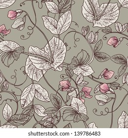 Seamless Floral Background with Blooming Peas The wallpaper in vintage style