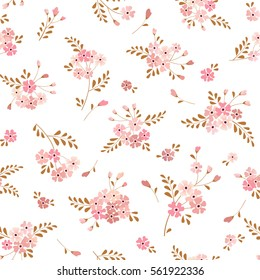 Seamless floral background with bouquets of flowers. Vector pattern. Vintage ornament for wallpaper, fabric, digital paper, etc.