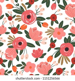Seamless floral background with bouquets of roses.