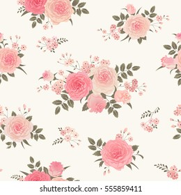 Seamless floral background with bouquets of roses. Vintage ornament for wallpaper, fabric, digital paper, etc. Shabby chic style pattern.