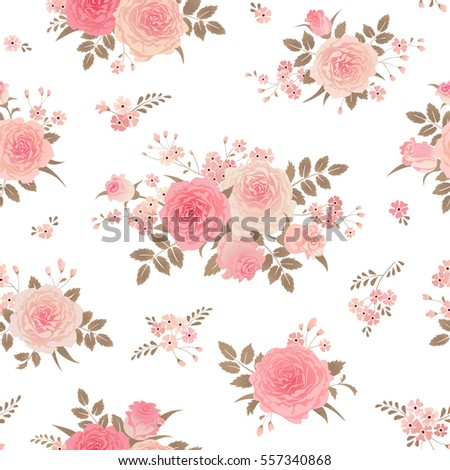 Seamless Floral Background Bouquets Roses Vintage Stock Vector