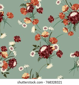Seamless floral background with bouquets of wild flowers. Vintage ornament for wallpaper, fabric, digital paper, etc. Shabby chic style pattern.