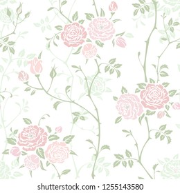 Seamless floral background with branches of pink roses. Vector pattern for wallpaper, fabric, gift wrap, digital paper, fills, etc. Shabby chic style