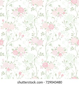 Seamless floral background with branches of pink roses. Vector pattern for wallpaper, fabric, gift wrap, digital paper, fills, etc.