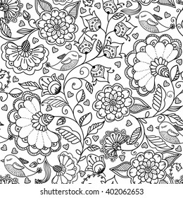 Seamless floral background in doodle style with flowers. leaves and birds. Coloring book page. Vector hand drawn pattern in black and white