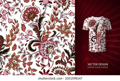 Seamless floral background. Fantasy flowers pattern, used on t-shirt mock up. Design for prints, wallpaper, textile. Vector illustration. Pink brown