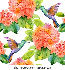 Seamless floral background with flowers and birds. Hand painted watercolor painting. Vector