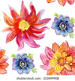 Seamless floral background with flowers. Hand painted watercolor painting. Vector.