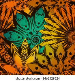 Seamless floral background. The gradient can be off. Tracery handmade nature ethnic fabric backdrop pattern with flowers. Textile design texture. Decorative color art. Vector