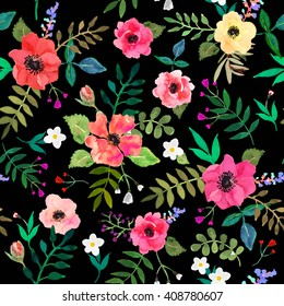 Seamless floral  background. Isolated red flowers and leaves drawn watercolor on black background. Watercolor flowers handmade. Beautiful red roses. Summer flowers. Vector illustration.