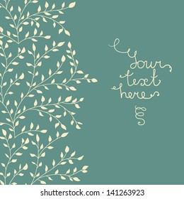 Seamless floral background with leaves. Place for your text