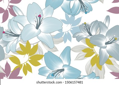 Seamless floral background with lily flowers and tropical leaves.