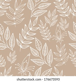 Seamless floral background in outlines