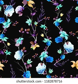 Seamless floral background pattern. Abstract blue flowers, roses, branches with leaves on black. Pattern for textile, fabric and other prints purpose. Hand drawn artwork, vector wallpaper.