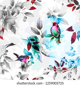 Seamless floral background pattern. Abstract flowers with bird (red-breasted petroika), leaves and branches. Black and white hand drawn version. Artwork for desing, textile, fabric and other purpose.