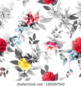 Seamless floral background pattern. Abstract flowers, peony, branches with leaves on white. Pattern for textile, fabric and other prints purpose. Hand drawn artwork, vector wallpaper.