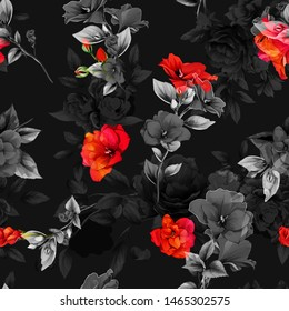 Seamless floral background pattern. Abstract flowers amaryllis, branches with leaves on black. Pattern for textile, fabric and other prints purpose. Hand drawn artwork, vector wallpaper.