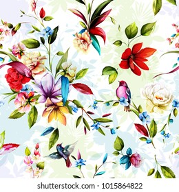 Seamless floral background pattern. Flax bud, magnolia, gladiolus, peony with birds on pastel. Watercolor. Hand drawn. vector - stock.