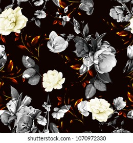Seamless floral background pattern. Flowers tulips with peony, leaves and gladiolus. Hand drawn black and white illustration on dark. Vector - stock.