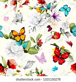 Seamless floral background pattern. Flowers roses, wild rosemary, peony with leaf and butterfly around on light green. Abstract hand drawn vector illustration.