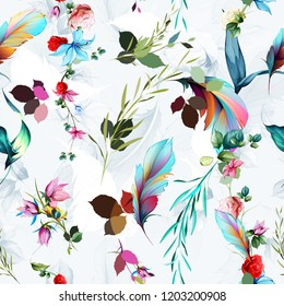 Seamless floral background pattern. Flowers roses with feather and leaves on white. Abstract art for textile, fabric and other prints purpose. Hand drawn artwork, vector - stock.