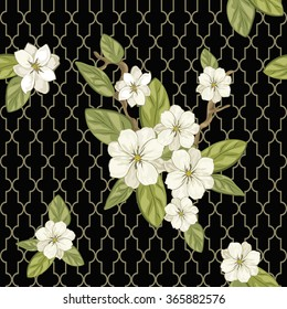 Seamless floral background. Pattern with flowers and leafs. Vector illustration.